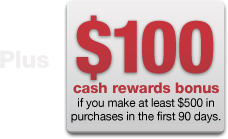 Plus, $100 cash rewards bonus if you make at least $500 in purchases in the first 90 days